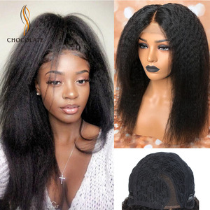 Brazilian Kinky Straight Wigs perruque cheveux humain Remy Yaki Lace Human Hair Wigs For Black Women pelucas front lace wigs(China)