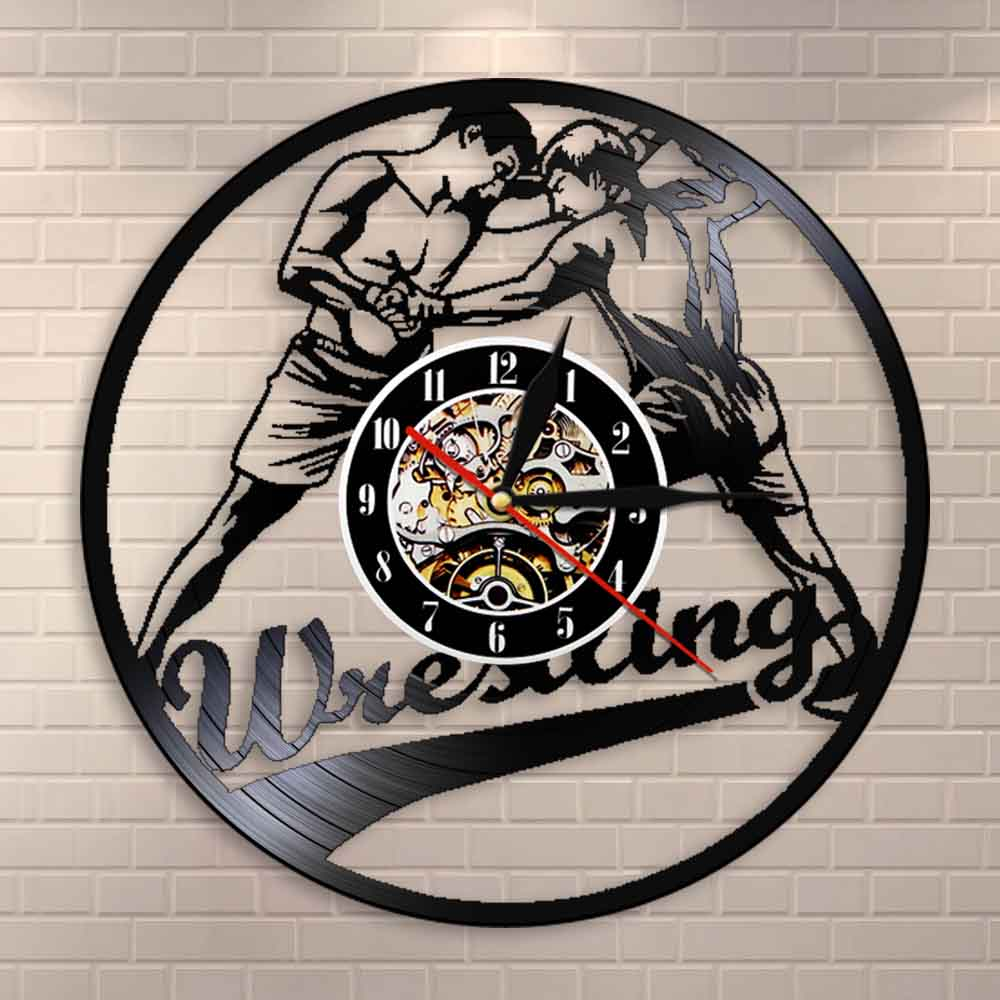Wrestling Wall Clock Wrestle Sport Combat Holds Grappling Pins Vinyl Record Wall Clock Boxing Fighters Home Decor Wall Watch