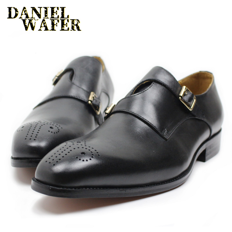 ELEGANT MEN CASUAL SHOES GENUINE LEATHER OFFICE BUSINESS WEDDING SHOES BUCKLE STRAP POINTED TOE CASUAL SHOE MEN LOAFERS LEATHER