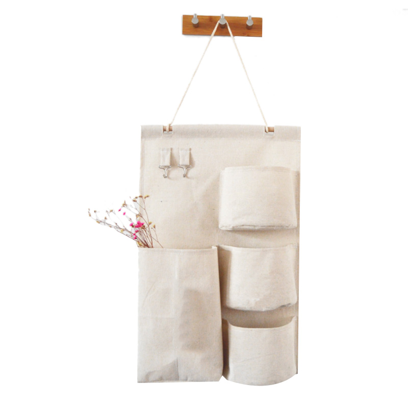 Pockets Wall Hanging Storage Bags With Paper Towel Cotton Linen Pouch Bedroom Wall Hanging Home Office Organizer Décor