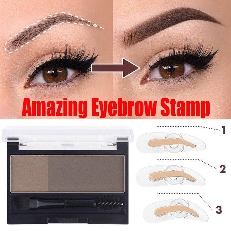 Waterproof Long Lasting Eyebrow Cream Eyebrow Enhancers Smooth Powder Palette Eyebrow Pigment With Eye Brow Stamp Brush TSLM2