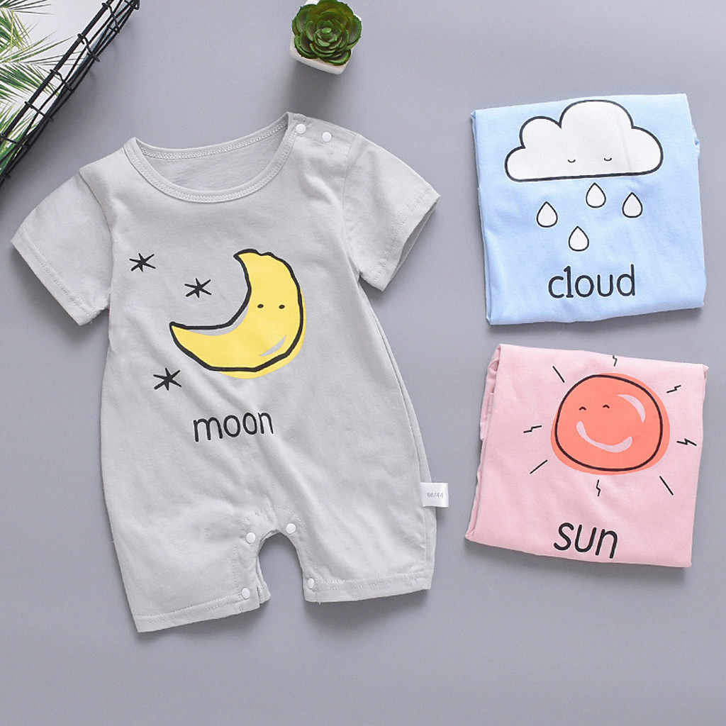 Newborn Baby Boy Clothes Girl Short Sleeve Jumpsuit Sun Cloud Moon Print Rompers Baby Clothes платье для девочки