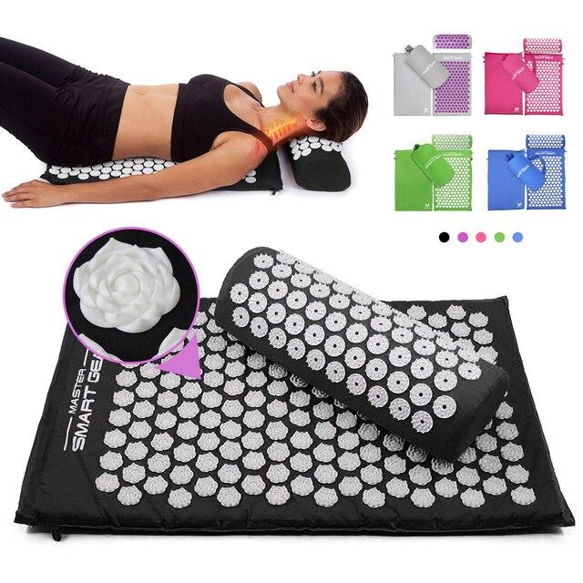 אקופרסורה עיסוי מחצלת כרית סט דיקור מחצלת יוגה מחצלת עבור להקל על לחץ חזרה צוואר השת כאב הרפיה מתח שחרור