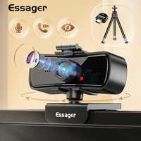 Essager-cámara Web C3 1080P, Webcam 2K Full HD para PC, ordenador portátil, USB, con micrófono, autoenfoque, para Youtube