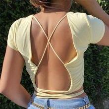 Bez pleców seksowne krótkie bluzki letnie damskie damskie bandaż sznurowane Backless jednolity, w stylu Basic sweter T Shirt klub główna ulica Slim Tee Top
