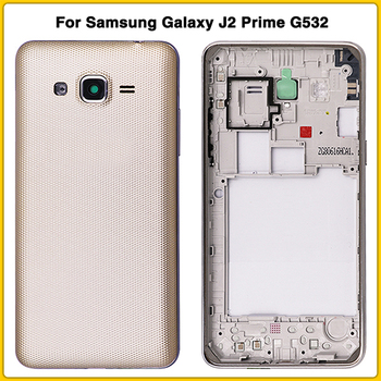 10PCS new G532 Rear Housing case For Samsung Galaxy J2 Prime G532 G532F Mid Bezel Middle Frame + Battery back Cover battery door