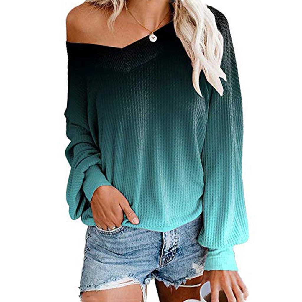 2019 Womens Waffle Knit Top Off Shoulder Pullover Sweater Fashion Loose V Neck Winter Sweatshirts