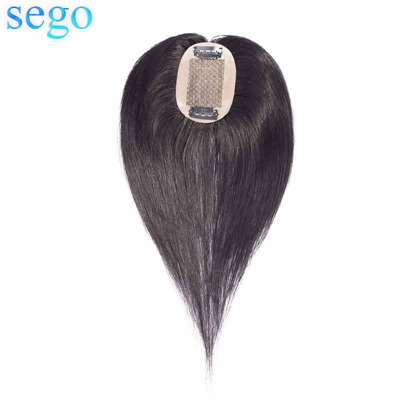 Sego 10 polegadas 6*9cm cabelo reto topper toupee para cabelo feminino peças de cabelo não remy cabelo humano indiano densidade 110% cor pura