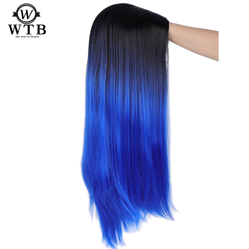 WTB Ombre Blue Green Straight Long Synthetic Wigs For Women Black Pink Wigs 24 Inch Can Be Cosplay Wigs Heat Resistant