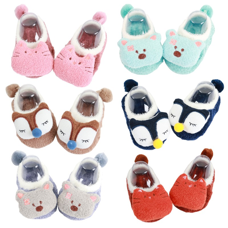 First Walkers New Toddler Newborn Baby Crawling Shoes Boy Girl Lamb Slippers Prewalker Trainers Fur Winter Animal Ears