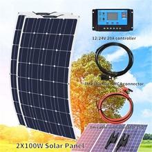 Xinpuguang 12 Volt 24 Volt 200 watt solar panel kit 100w solar panels with 20A controller Photovoltaic cable for car RV yacht стоимость