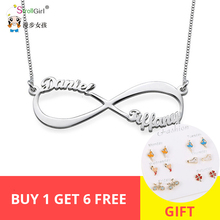 StrollGirl Personalized Infinity Necklace 925 Sterling Silver Custom Name Endless Love Jewelry Christmas Gifts
