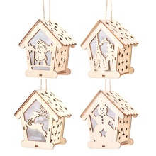 Christmas Decorations Funny Luminous Small Wooden House Hanging Decoration For Tree Party