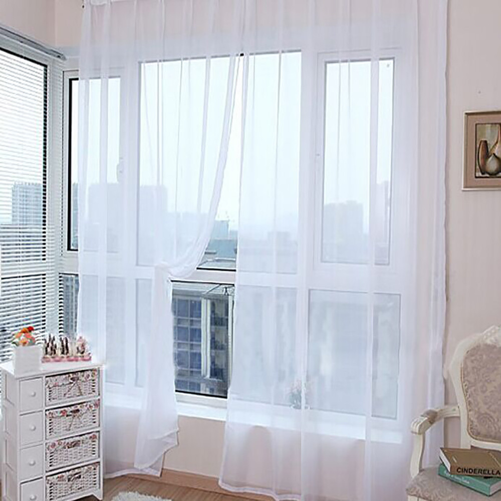 1 PCS Pure Color Tulle Door Window Curtain Drape Panel Sheer Scarf Valances Micro-transparent Light-weight Gauze Transmission