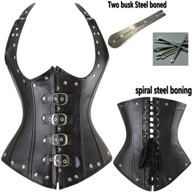Sexy Women Lingerie G-string steampunk Fashionable Tape Waist Training   Corset   Steel Boned Black Plus Size S-6XL