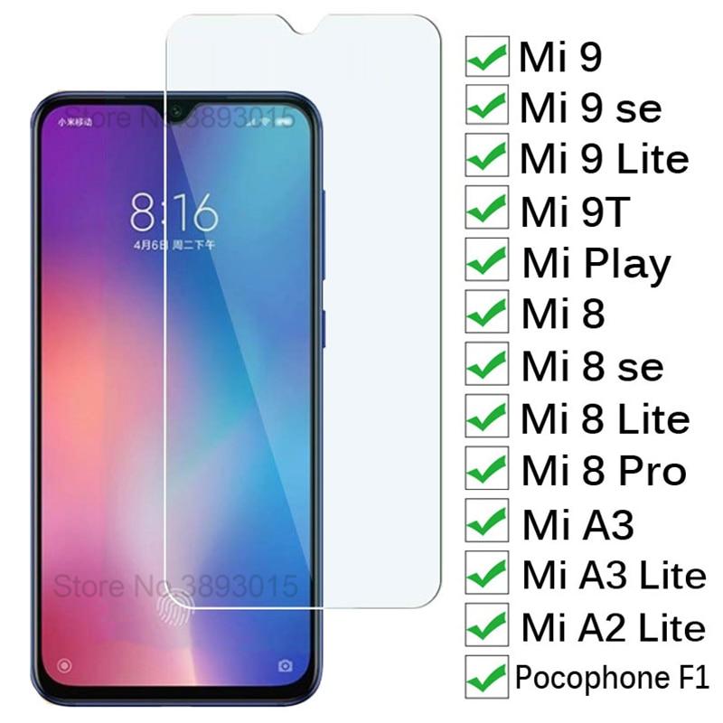 Tempered Glass For Xiaomi Mi 9 Lite 9T SE A3 Screen Protector For Mi Play Mi8 Pro 8 SE Pocophone F1 Clear Glass Protective Film