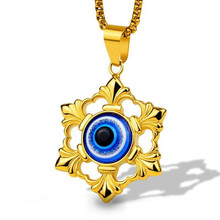Vintage Turkish Evil Eye Pendant Necklace Demon Eye Men's Necklace Blue Eyes Stainless Steel Jewelry vintage hollow blue eye pendant necklace women high quality personality men jewelry collares