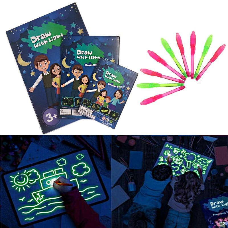 A3 A4 A5 светодиодный светящийся чертеж доска для рисования граффити Рисование планшет Волшебная ничья со светом-забавная флуоресцентная руч...