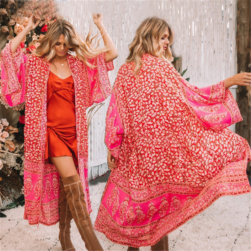 Europe And America New Style Chiffon Red Small Floral Printed Sexy Cardigan Beach Skirt Bikini Cover-up Holiday Sun Shirt Women'