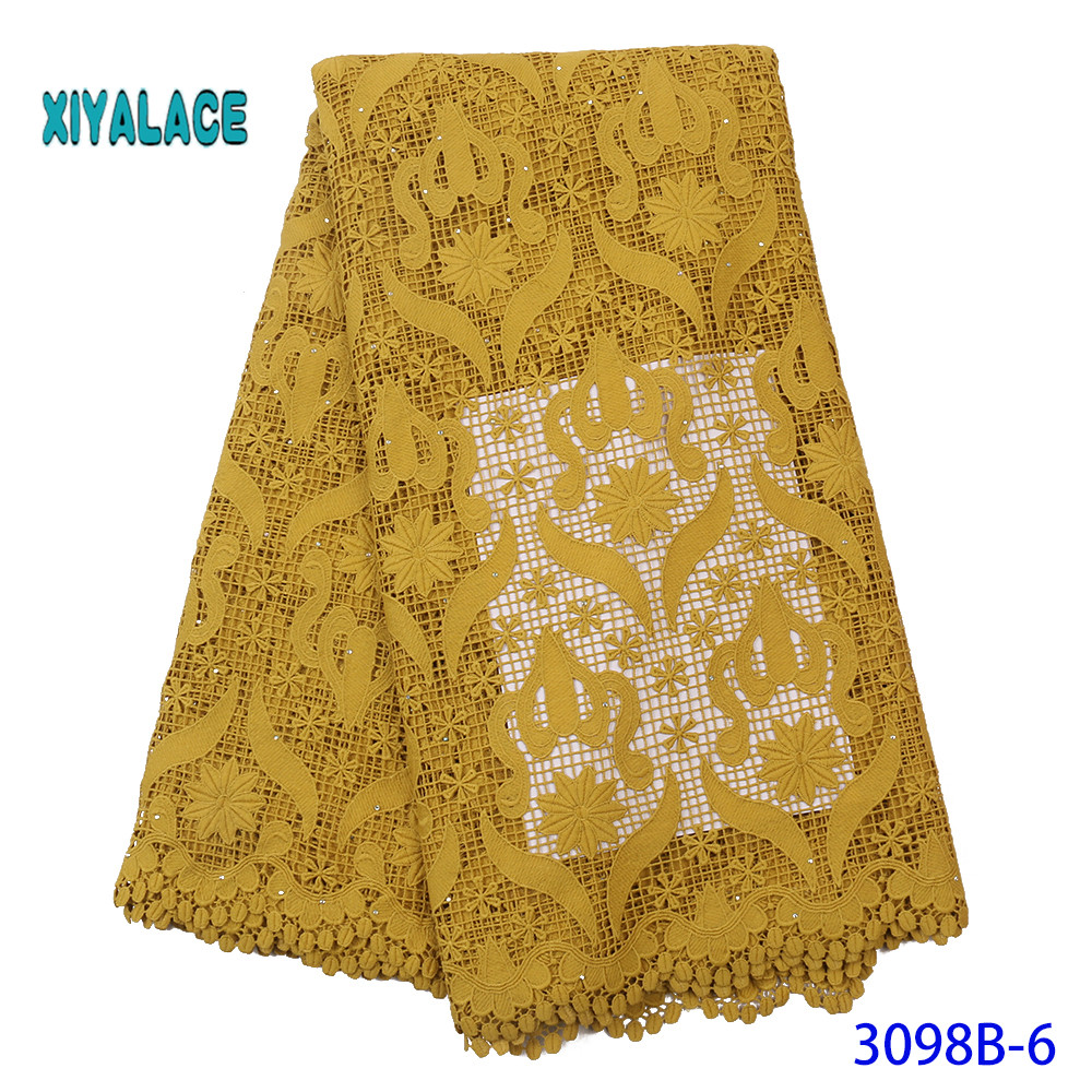 African High Quality Cotton Lace Fabric 2019 Latest Design Swiss Voile With Stone In Switzerland For Party Dress YA3098B-6