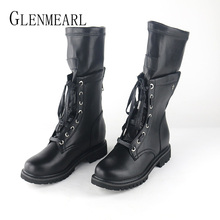 цена Women Winter Boots Warm Shoes Mid Calf Female Boots Platform  Women Shoes Round Toe Lace Up Fashion Ladies Boots Casual Shoes 20