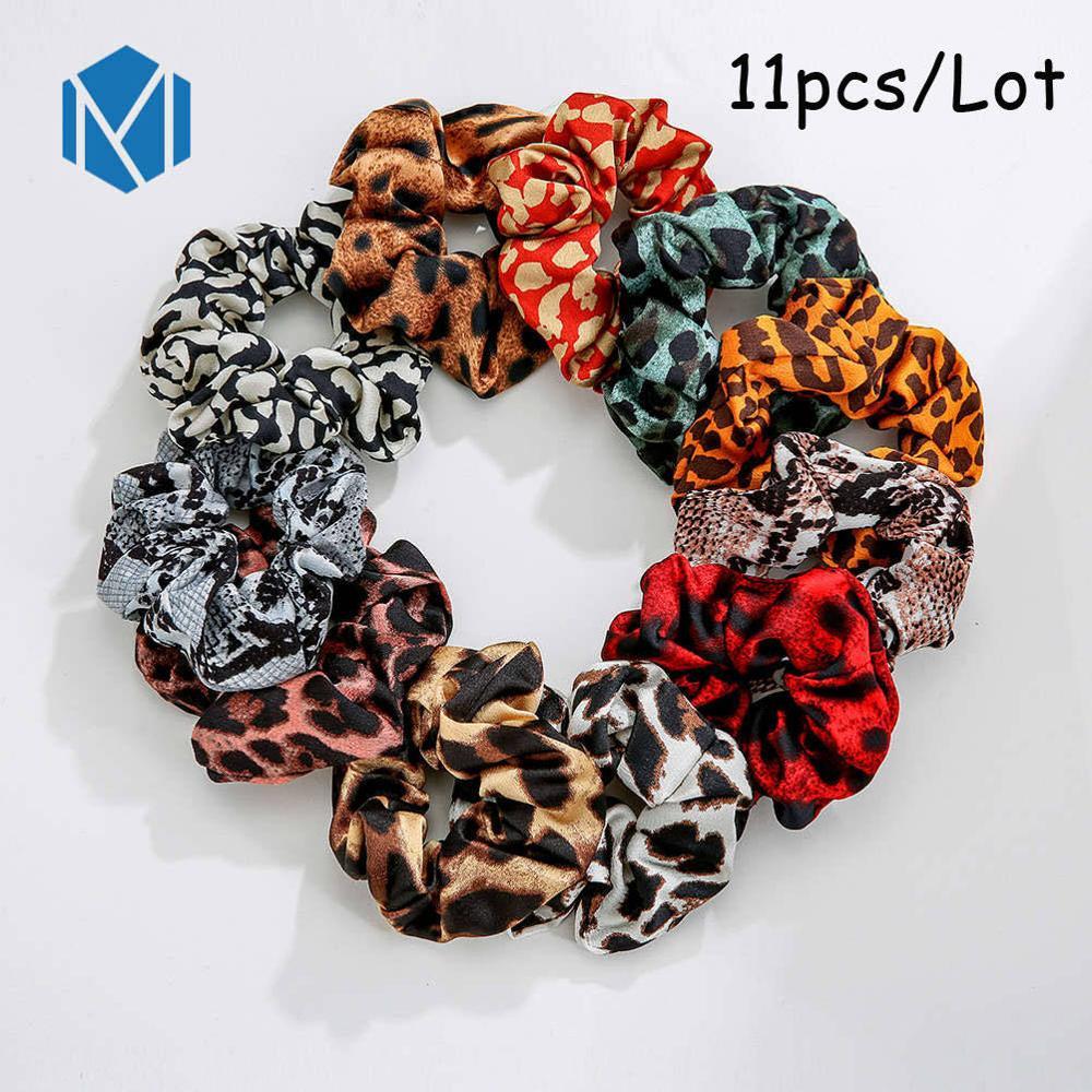 M MISM 11 шт. винтажные леопардовые бархатные резинки для волос для женщин и девочек, шелковые эластичные полосы обруча для волос, набор модных аксессуаров для волос