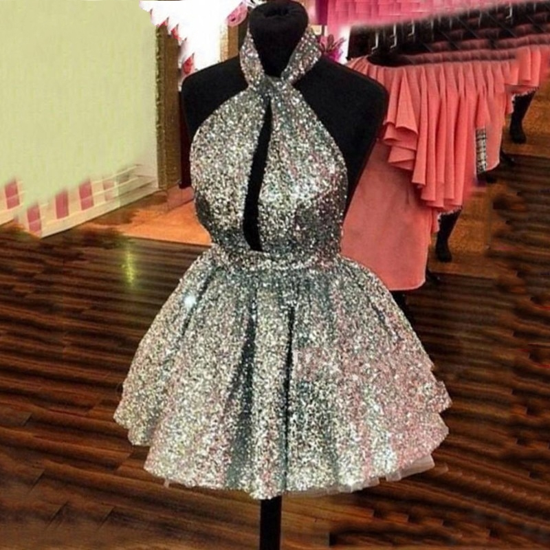 Sparkle Silver Sequin Mini Prom Dress 2020 Sexy Halter Backless Short Party Dresses Cheap Semi Formal Gowns Homecoming Dress