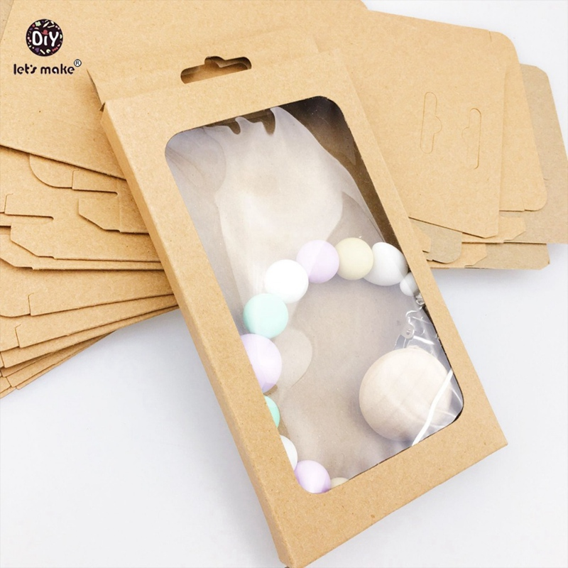 Let's Make 20pcs Baby Gift/Merchandise/Packing Box Kraft Paper Wedding Wrapping Jewelry Supply Nursuing Accessories Baby Teether