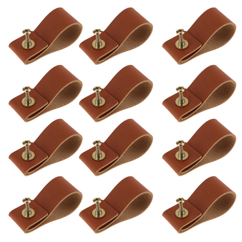 12pcs Cabinet Leather Dresser Drawer Door Handle Kitchen Furniture Decor