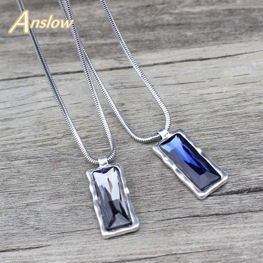 Anslow Brand Top Quality Fashion Jewelry Crystal Square Short Pendant Necklace For Women Female Mothers' Day Gift LOW0085AN