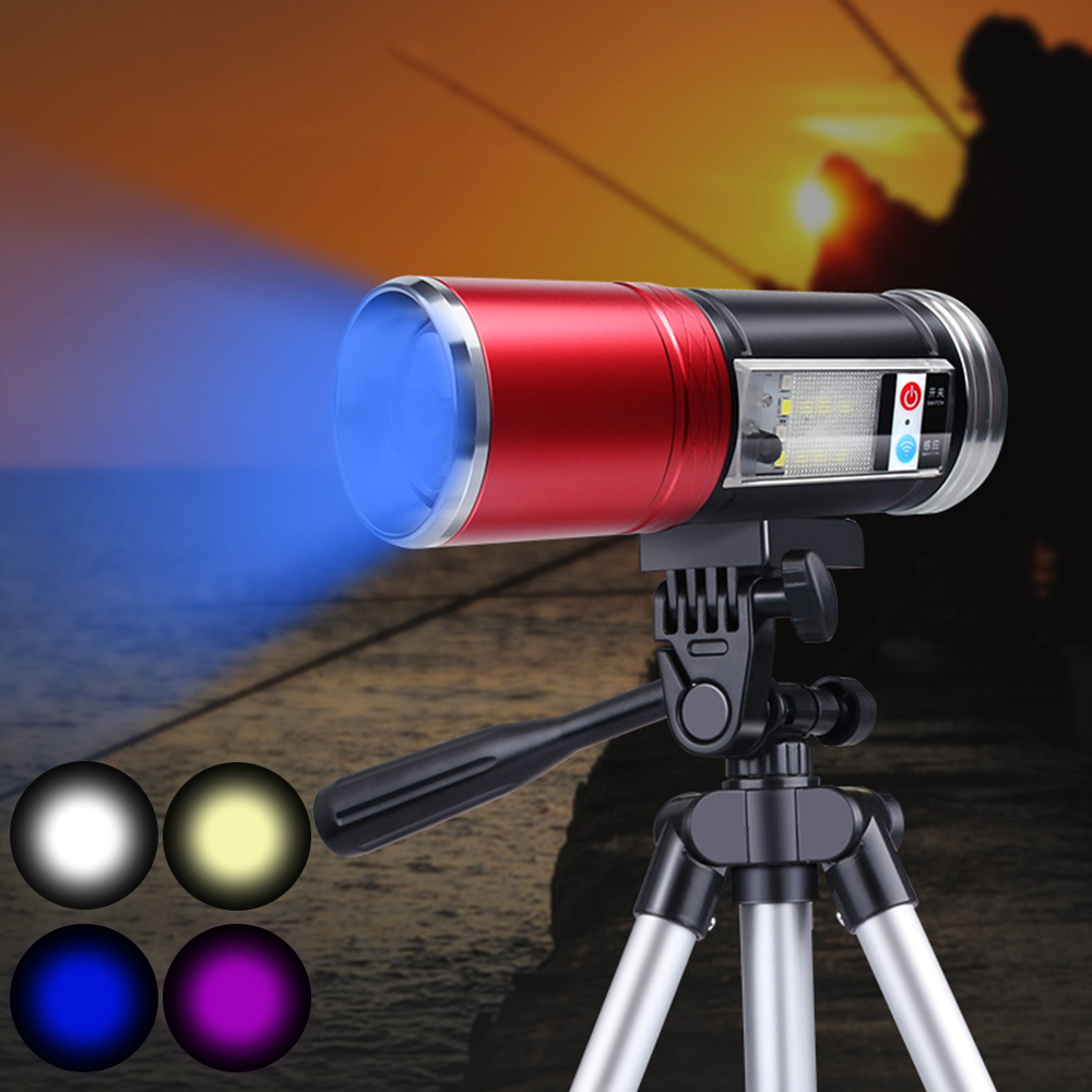 9000mAh High Power Rechargeable LED Flashlights Induction COB Side Light 5 Light Color Dimmable Zoom Night Fishing Lights Torch