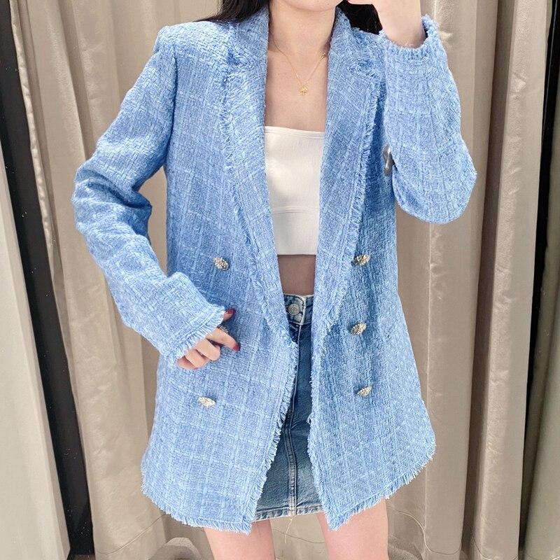 2020 New Spring Autumn Vintage Plaid Tweed Blazers Jackets Women Chic Button Long Suit Coat Female Tops Office Ladies Suit