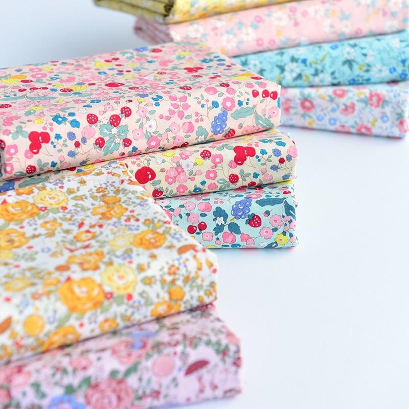 145x50cm pastoral floral algodão popelina costura tecido diy crianças usar pano fazer cama quilt decoração casa 160-180 g/m