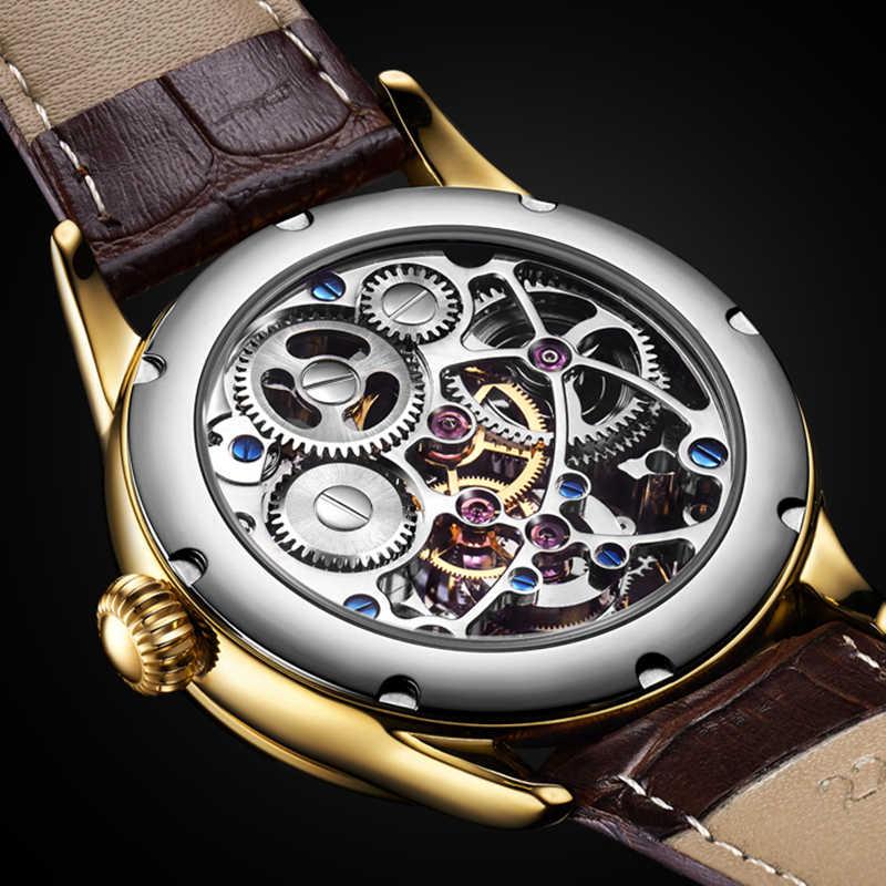 ساعة توربيون حقيقية لعام 100% للرجال ساعة ميكانيكية بهيكل عظمي ساعات رجالي من الياقوت ساعة رجالية فاخرة من علامة تجارية مميزة