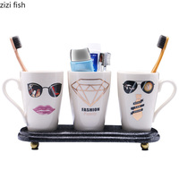 European Ceramic Bathroom 4 Pieces Toiletries Bathroom Toothbrush Cup Simple Cup Couple Cup Cartoon Cup Toothbrush Holder