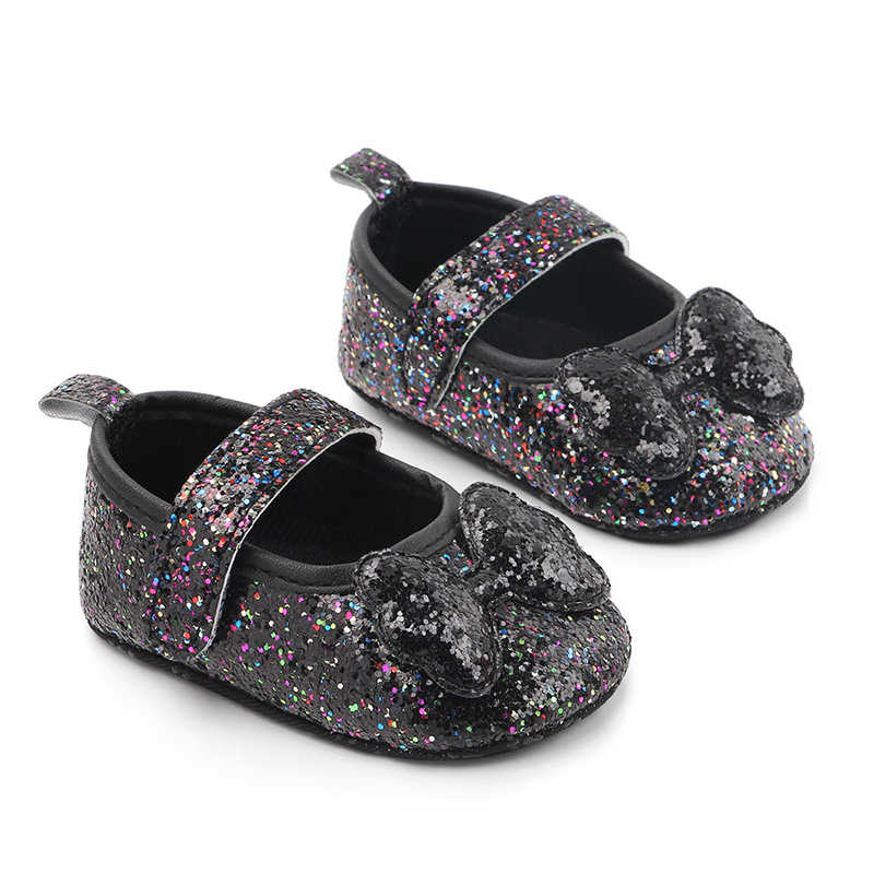 Newborn Baby Girl Shoes First Walkers Sequin Infant Indoor Soft-Soled Bow-Knot Princess Baby Shoes