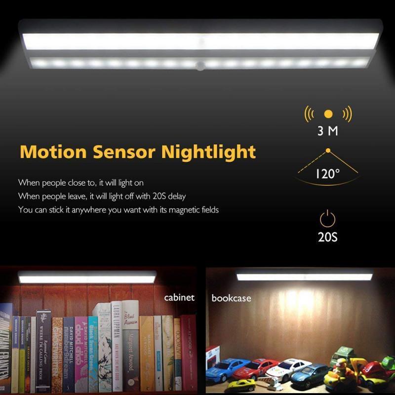 10 LEDs Motion Sensor Light Cupboard Wardrobe Lamp Wireless Light Bar Stick-on Anywhere Cabinet Night Light Battery Powered