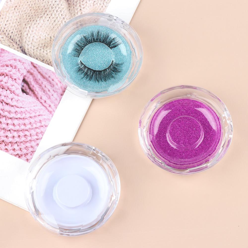 New Fashion False Eyelash Packing Box Transparent Lid Tray Individual Magnet Eyelashes Stand Acrylic Pad Lash round Tool Case(China)