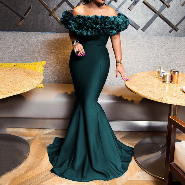 Sexy Off Shoulder Long Evening Party Dress Women Blue Bodycon Mermaid  Prom Dress Maxi African 2020 Summer Red Elegant Dresses 1