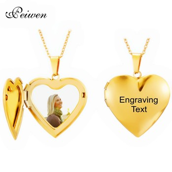Custom Photo Name Necklace Stainless Steel Heart Locket Engraving Name Date Gold Necklaces For Women Men Choker Neck Jewelry custom name choker necklace for women men stainless steel cuban chain gold necklace nameplate necklaces boho jewelry collares