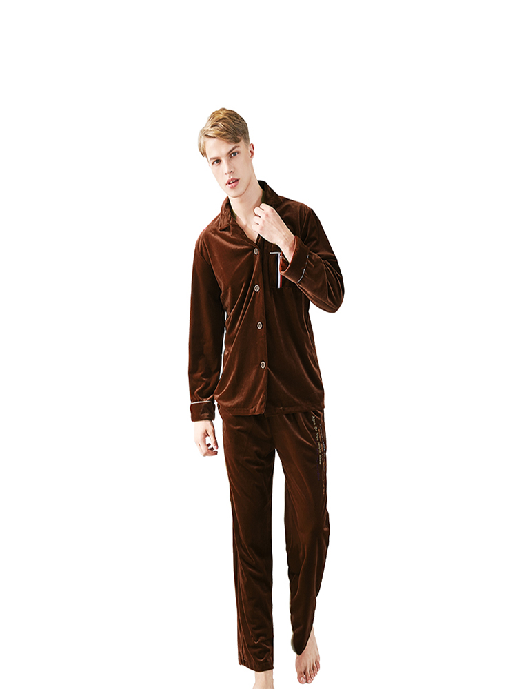Autumn And Winter New Gold Velvet Pajamas Men's Autumn And Winter Long-sleeved Trousers Comfortable And Clean Home Service