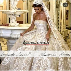 Image 2 - Straplez şampanya renk tam dantel düğün elbisesi balo elbisesi