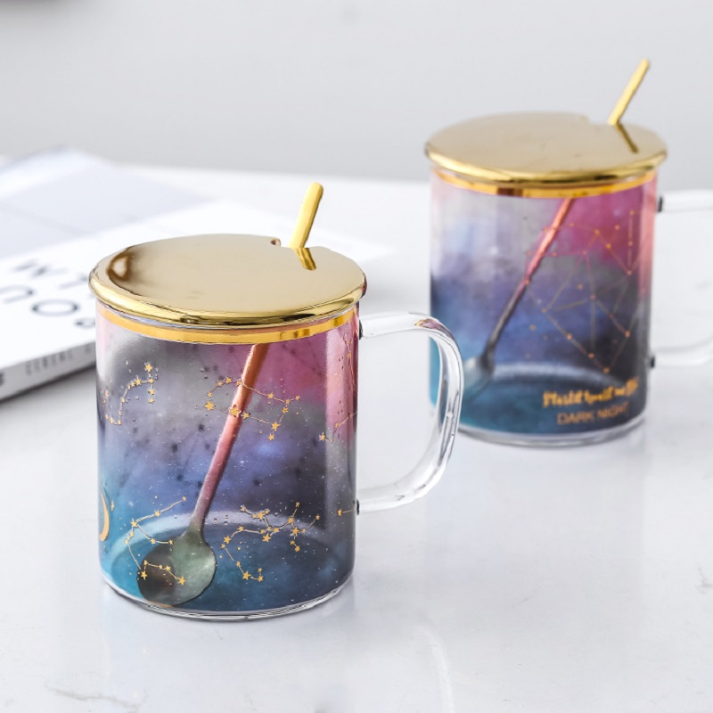 Change Colour Cartoon Milk Mugs with Spoon & Cover Creativity Glass Mug Student Drinking Cup Starry Sky Thermos Coffee Mugs