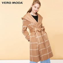 Vero Moda Wanita Berjaga-jaga 64% Wol Plaid Hooded Double-Faced Mantel | 318427516(China)