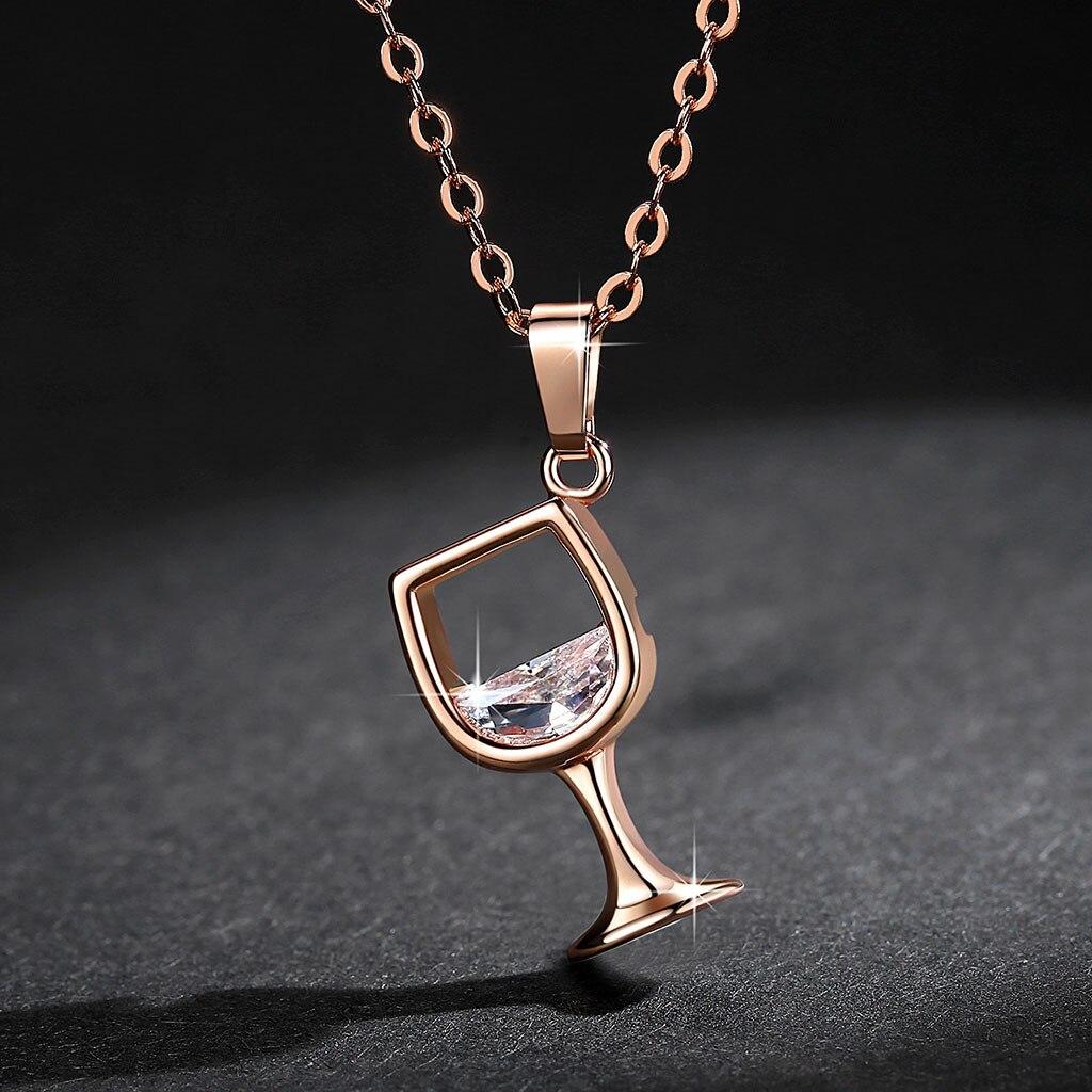 Женский кулон из винного стекла, циркониевое длинное ожерелье на цепочке, ювелирные изделия, подвески, новинка 2020, ожерелье, Женская цепочка, подарок