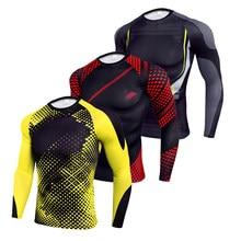 Camicia a compressione a manica lunga da uomo maglietta da palestra ad asciugatura rapida camicia sportiva da Fitness rashguard maschile allenamento Jogging abbigliamento sportivo corsa
