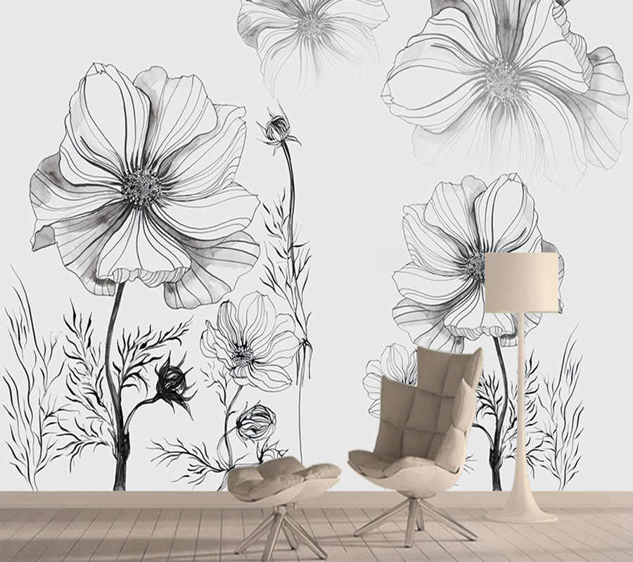 Black White Floral Contact Wall Paper 3d Mural Wallpaper Nature Home Improvement Vinyl Wallpapers For Living Room Peel And Stick Wallpapers Aliexpress