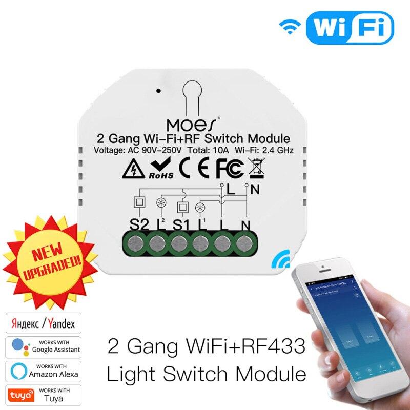 Лидер продаж 2 способ МОС 2 Gang DIY интеллектуальная беспроводная (Wi-Fi) RF433 модуль автоматического включения света приложение Smart Life/приложение ...