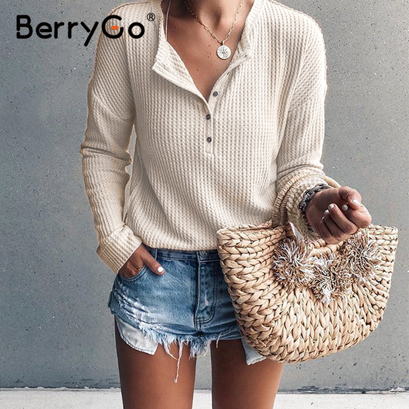 BerryGo Casual Buttons Knitted Blouse Shirt Women Long Sleeve Cotton White Female Tops Shirt Spring Summer Office Ladies Blouses