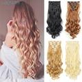 Заколки для волос 16 клипсов длинные прямые синтетические волосы для наращивания Высокая температура волокна черный коричневый шиньон